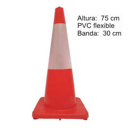 cono señalización flexible 75 cm