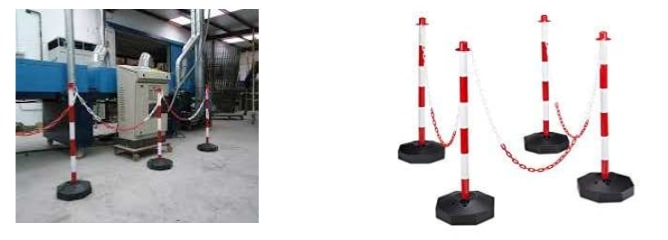 postes y cadenas rojas blancas señalizacion