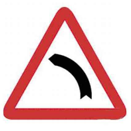 Señal tráfico curva peligrosa