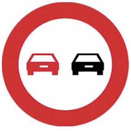 señal de adelantamiento prohibido