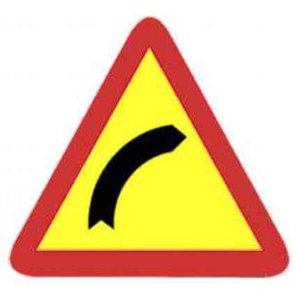 Señal curva peligrosa en obras