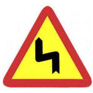 Señales curvas peligrosas en obras