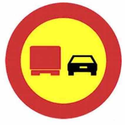adelantamiento prohibido para camiones